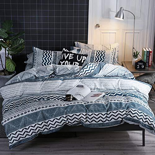 Damier Juego de cama geométrico de 200 x 220 cm azul y blanco a rayas, funda nórdica con cremallera y 2 fundas de almohada de 80 x 80 cm