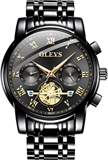 Watches for Men Analog Quartz Wristwatch Mens Casual Waterproof Stainless Steel Band Bussiness Dress Watch Black Gold Mens with Mens Jewelry Braided Leather Wrap Bracelet