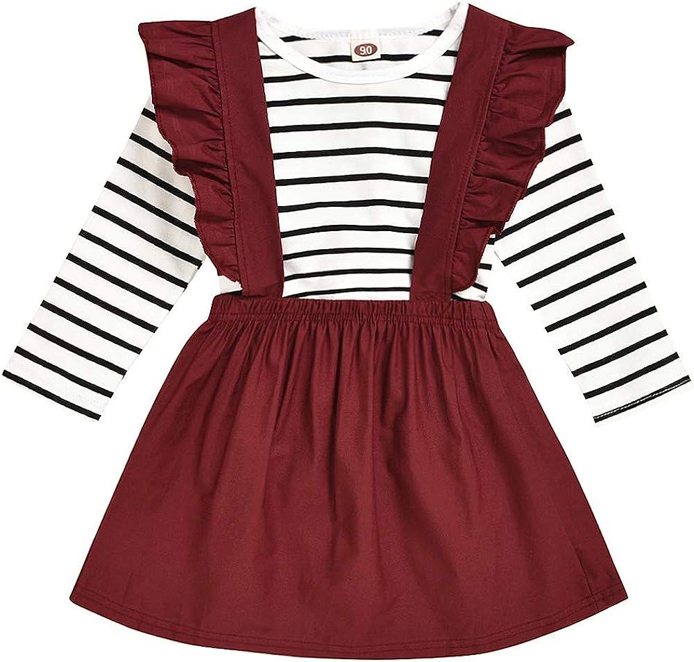 Toddler Baby Girls Kids Skirt Sets Linen T-Shirt Top+Ruffle Strap Suspender Dress Outfits Clothes