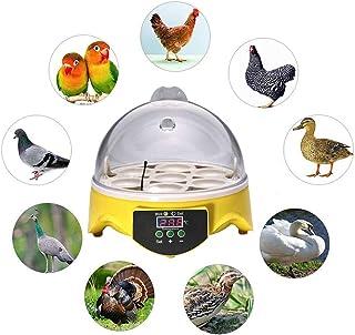 Hisunny Incubadora De Huevos De Canarios Humedad Fácil Manipulación Encubadora Pollos Pantalla Digital Iluminación LED para Huevos del Pato, Huevos de Pavo 7 Huevos