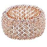 Lavencious Tennis Rhinestone Stretch Bracelets Bridal Evening Party Jewelry for Woman Bangle (Rose Gold)