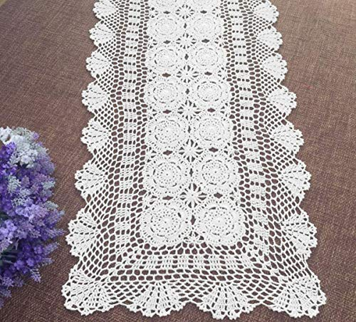 Damanni Rectangular Cotton Handmade Crochet Lace Table Runner Doilies Dresser Scarves for Bedrooms,16 Inch by 27 Inch,White