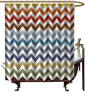 Genhequnan Chevron Hotel Fabric Shower Curtain Chevron Pattern Easter Day Inspired Zigzag Colorful Design Retro Style Illustration Suitable for Bathroom W62 x L72 Inch Multicolor