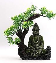 Ancient Buddha Statue Sculpture Aquarium Resin Decoration Rockery Stone Statue Under Bodhi Tree