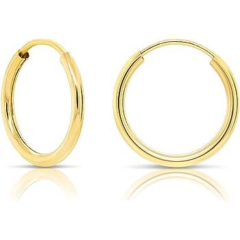 14K Rose Gold 1.5 MM Endless Round Tube Hoop Earrings MSRP $218