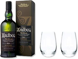 Ardbeg Whisky Single Malt Scotch 10 Jahre 46% 0,7 im Set mit 2 Tumbler Gläser