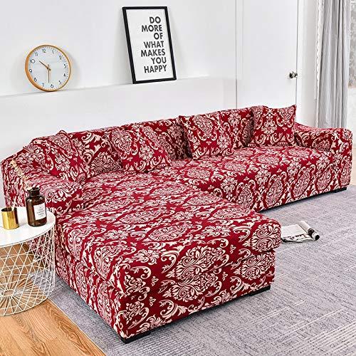WXQY Fundas Estampadas elásticas Antideslizantes para sofá Funda de sofá para Mascotas Esquina en Forma de L Funda de sofá Antideslizante A16 3 plazas