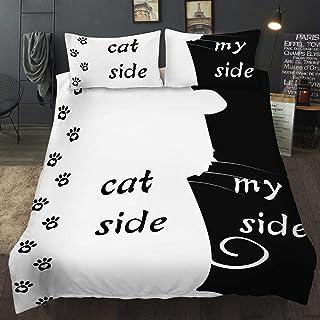 Roligt påslakanset med kattmönster till catladies i svart och vitt.