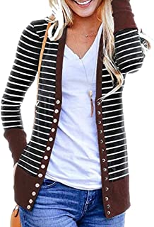 Women's Long Sleeve Sweaters Open Front Button Down Knit Ribbed Neckline Cardigans