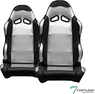 Topline Autopart Universal 2X SP Sport Style Black & Silver PVC Leather Black Stitch Reclinable Racing Bucket Seats with Slider