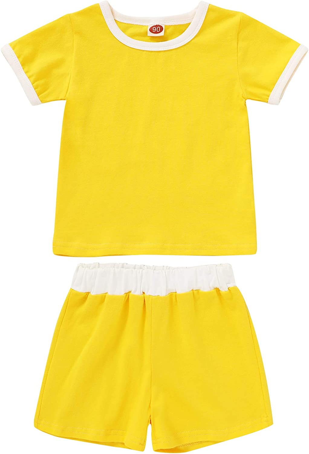 Toddler Baby Girl Boy Clothes Short Sleeve T-Shirt Tops and Shorts Set Solid Color Summer Outfit