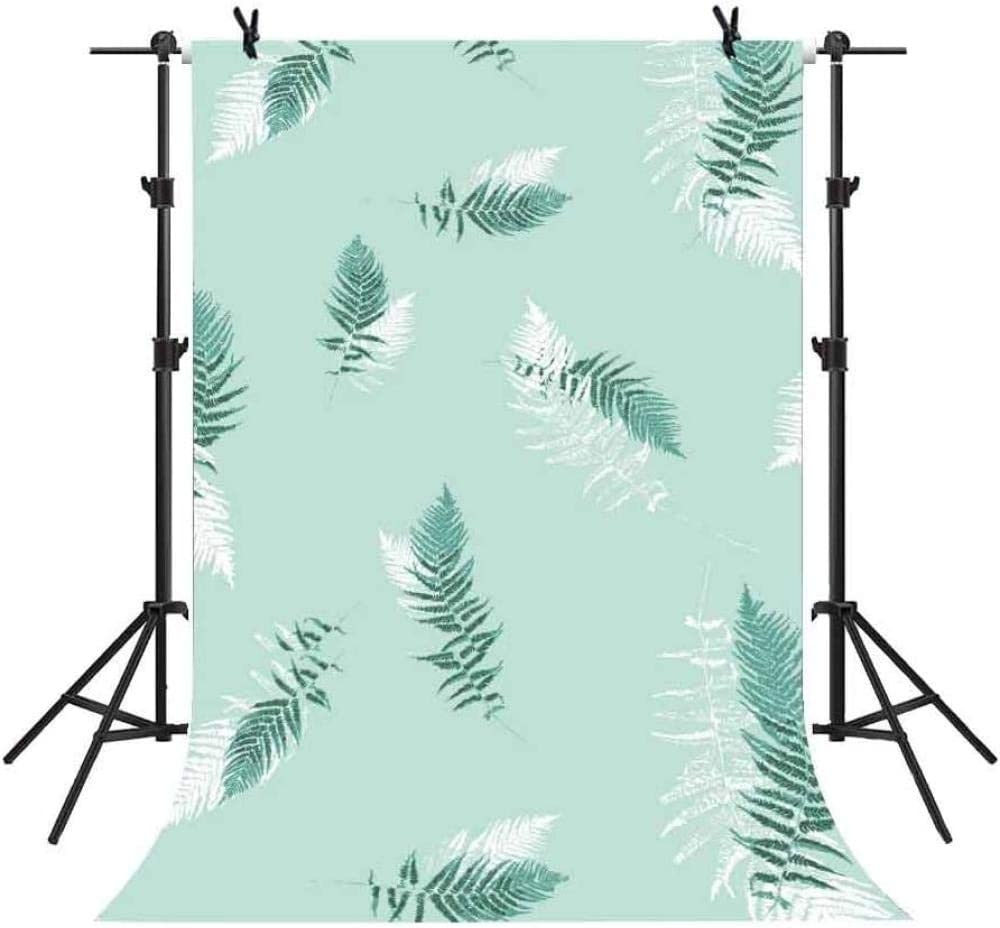 HD 5x7Ft Light Green Simple Photography Background Fresh Leaves Backdrop Art Style Photo Video Studio Props LXME366