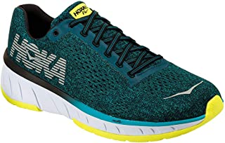 HOKA ONE ONE Mens Cavu Fabric Low Top Lace Up Running Sneaker, Size 10.0, Caribbean Sea / Black