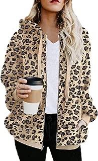 Women Leopard Print Oversized Hoodies Coat Zip Up Faux Shearling Cardigan Jacket Sweatshirt with Pocket Outwear