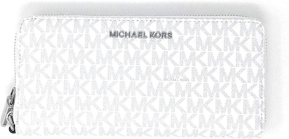 Michael kors large jet set travel continental portafoglio da donna in pvc e pelle con dettaglio logo 35H8STVT3B