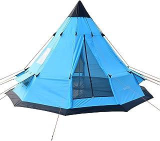 SAFACUS teepee tält för vuxna 5-6 personer familj campingtält, två dörrar med dubbla lager partytipi-tält, 30 x 30 cm torn...