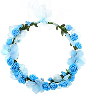 Accesyes Rose Flower Headband Leaf Berry Hair Wreath Party Festival Wedding Photography Floral Crown