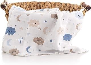 Caline Baby Müslin Bezi Örtü Bulut Desen-Mavi - 120x120 cm [4 Adet Ağız Mendili HEDİYE!!]