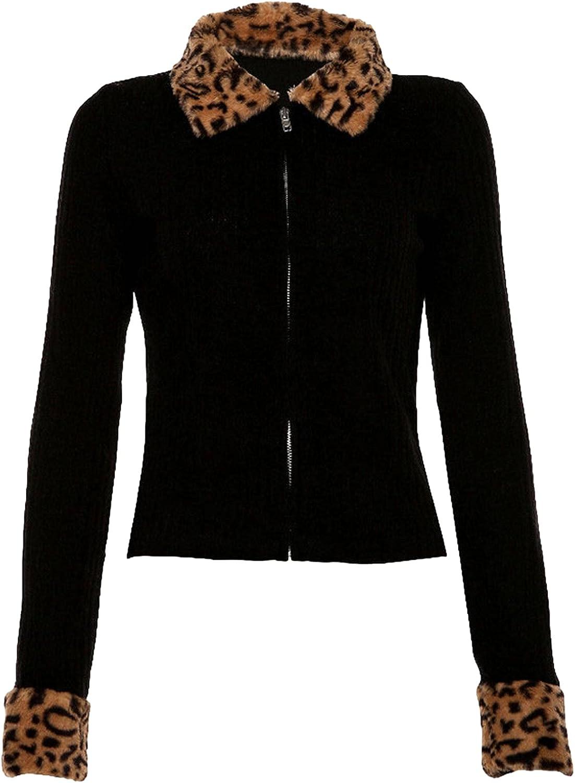 Y2k Women's Ranking TOP3 Zip Up Dealing full price reduction Leopard Jacket Sweater Knit Coat Vintage Pull