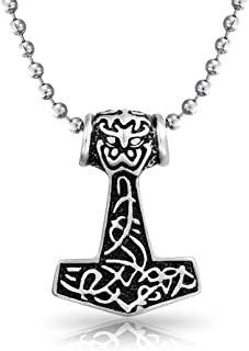 Celtic Knot Viking Thors Hammer Pendant Necklace for Men Oxidized Silver Tone Stainless Steel with Bead Chain