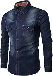 KXZD Men's Retro Two Pocket Long Sleeve Shirt Men's Stretch Denim Shirt Stretch Casual Shirt Mens Denim Shirts Slim Fit Bu...