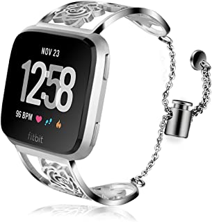 VIGOSS Metal Bracelet Compatible with Fitbit Versa Bands Women Silver Luxury Light Jewelry Versa Strap Polished Cuff Floral Hollow Stainless Steel Bangle for Fitbit Versa Smartwatch Butterfly