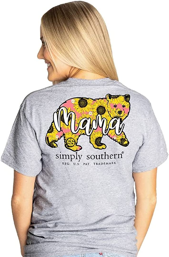 Simply Southern Mama Sunflower Bear Women's Short Sleeve T-Shirt