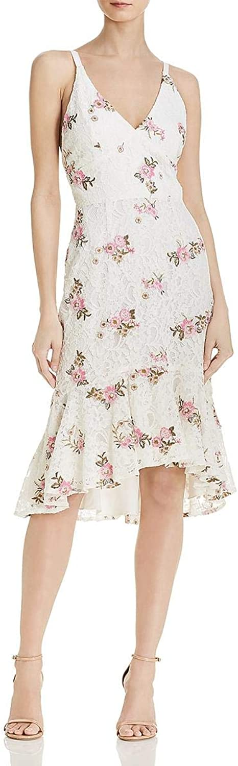 WAYF Womens Floral Crochet Midi Dress