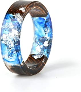 Unique Handmade Wood Resin Band Ring with Silver Foil Inside Ocean Blue Crystal Ring Best Gift for Her