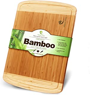 Small Bamboo Wood Cutting Board With Juice Grooves Best For Chopping Bread, Meat, and..