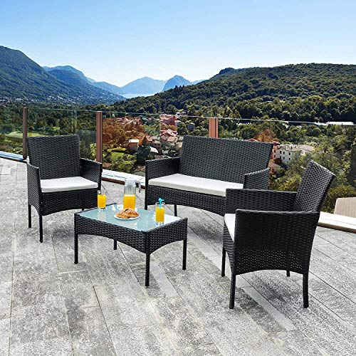 wolketon Gartenmöbel Set Poly Rattan Balkonmöbel Sitzgruppe Schwarz Langlebig Lounge Set Mit 2-er Sofa, Singlestühle, Tisch und Sitzkissen - 6
