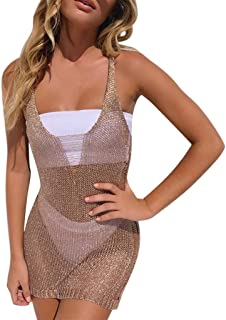 cf24b4a67a736 Women s Sequin Swimsuit Cover Ups Sexy See Through Swimsuit Bikni Cover Up  Beach Mini Dress Smock