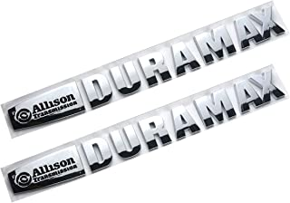 Chrome Black Pair Set Duramax Allison Transmission Hood Emblem Badges Decal 3D Sticker Nameplate Letter Replacement for SILVERADO Sierra 2500HD 3500HD Trucks