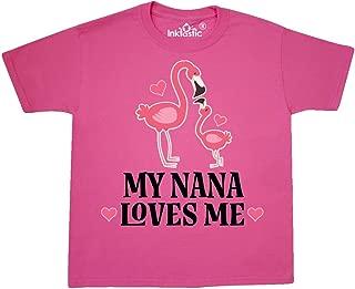 Nana Loves Me Girl Flamingo Youth T-Shirt