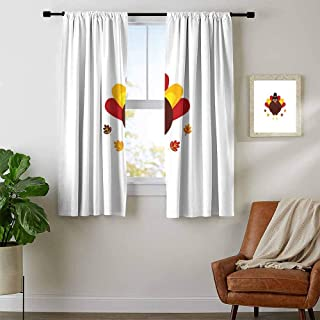 Turkey, Window Curtain Fabric, Cartoon Style Pilgrim Bird with Hat Fun Animal Character American Tradition, Curtains for Bathroom, W63 x L72 Inch Maroon Red Yellow