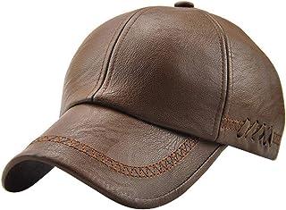 MINAKOLIFE Men Retro Style PU Leather Baseball Cap