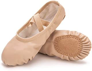 ANDONE Ballet Shoes for Girls/Toddlers/Kids/Women, Leather Yoga Shoes/Ballet Slippers for Dancing 10.5 Little Kid Nude