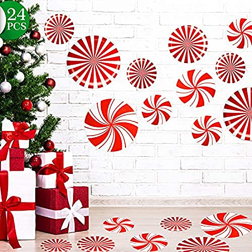 24 piezas de calcomanías de menta para el suelo para decoración navideña, suministros para fiestas de dulces, rojas y blancas, calcomanías grandes para pisos, ventanas, mostradores