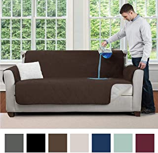 MIGHTY MONKEY Premium Water and Slip Resistant Loveseat Slipcover, Seat Width Up to 54 Inch, Absorbs 4 Cups of Water, Oeko Tex Certified, Suede-Like, Cover for Loveseats, Love Seat, Chocolate