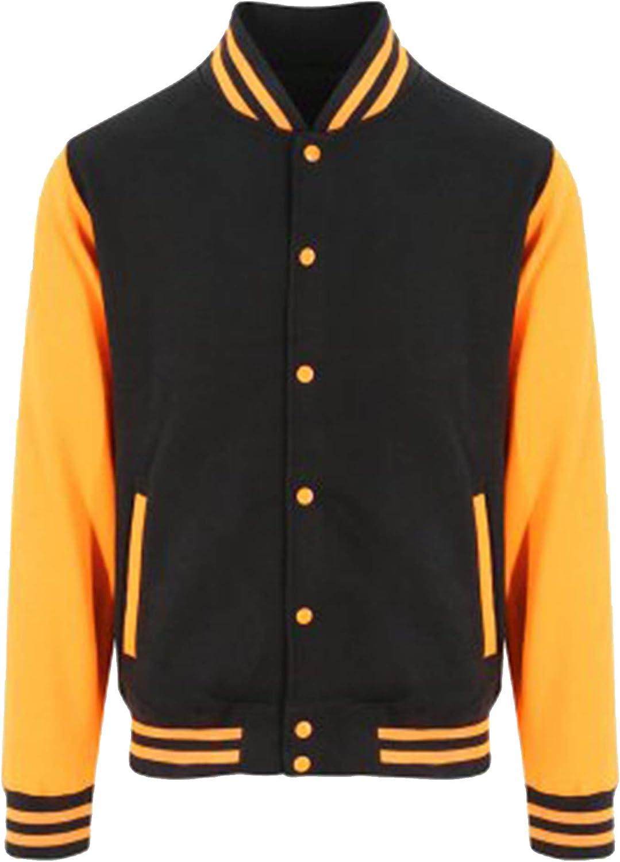 Awdis Unisex Varsity Jacket (M) (Jet Black/Orange Crush)