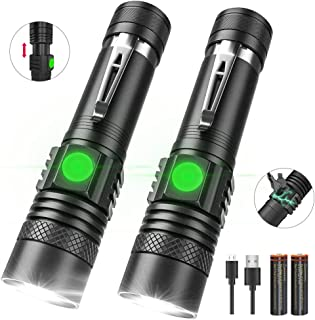 Rechargeable Flashlight, LED Tactical Flashlights Included Battery - 4 Models, Zoomable, Waterproof, Vnina High Lumens Flashlight with Clip for Camping, Hiking and Outdoor [2 Pack]