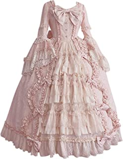 Kstare Women Gothic Steampunk Party Lace Medieval Renaissance Dress Gown Floral Elegant Halloween Costume Cosplay