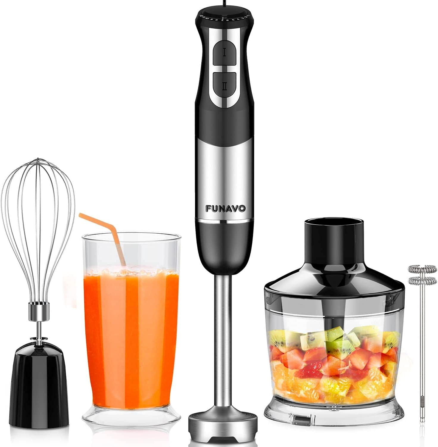 FUNAVO hand blender,800W 5-in-1 Immersion Hand Blender,12-Speed Multi-function Stick Blender with 500ml Chopping Bowl, Whisk, 600ml Mixing Beaker, Milk Frother Attachments, BPA-Free