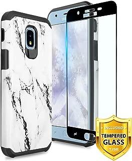 TJS Galaxy J7 2018/J7 Refine/J7 Star/J7 Eon/J7 TOP/J7 Aero/J7 Crown/J7 Aura/J7 V 2nd Gen Case, [Full Coverage Tempered Glass Screen Protector] Dual Layer Hybrid Shockproof Marble Phone Case (White)