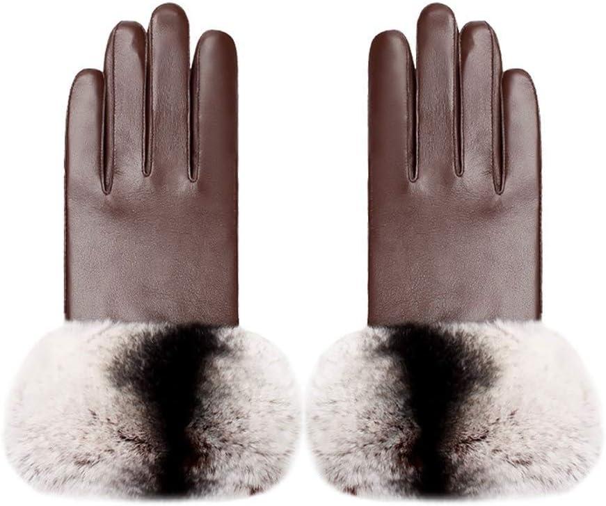 TANKKWEQ Women Winter Gloves WarmElegant Ladies Sheepskin Fashion Rabbit Fur Decoration Black Leather Plus Velvet Cold Mitten Touch Screen Windproof Real Sheepskin Mitten