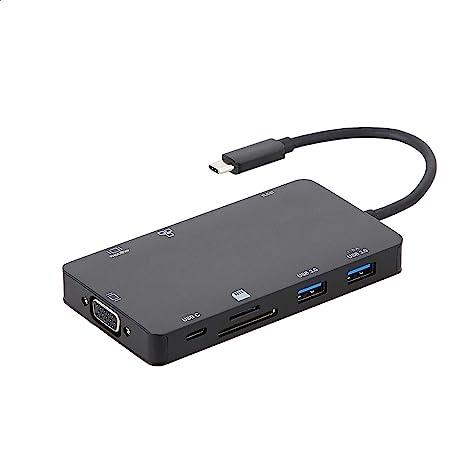 Amazon Basics - Docking Station in alluminio USB 3.1 tipo C con HDMI, VGA, Ethernet, 2 USB-A, lettore di schede SD/TF, porta dati tipo C (5 Gb/s) e porta di ricarica tipo C (PD 100 W), nera