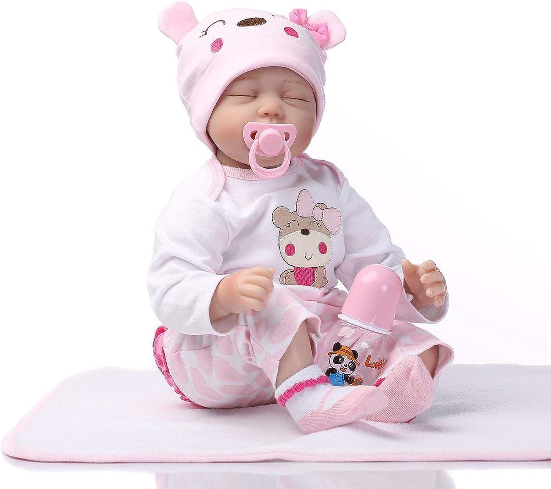 Jasnyfall Simulation Baby Cute Reborn Puppe Spielzeug Silikon Lebensecht Schlafen Neugeborene Puppe Rosa & Weiß B07KPB7DSZ Verwendet in der Haltbarkeit  | Günstige