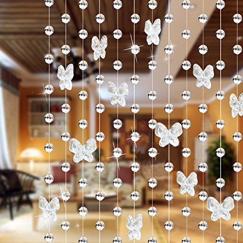 UxradG - Cortina de cuentas de cristal con mariposas, cadena de araña, rollo de cuerda de cuentas para bricolaje, decoración de Navidad o boda, Transparente, Tamaño libre