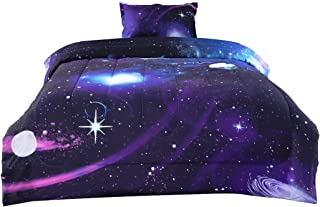 uxcell Twin Size Galaxies Purple Comforter Sets - 3D Space Themed - All-Season Down Alternative Quilted Duvet - Reversible Design- Includes 1 Comforter, 1 Pillow Case