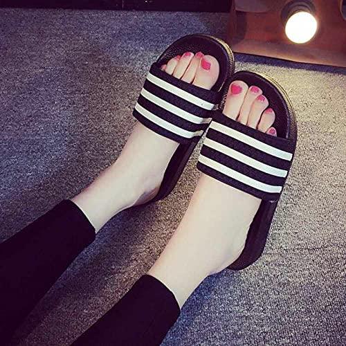 JaMsnc Zapatillas de baño para hombre, antideslizantes y resistentes al desgaste, sandalias de baño para parejas-negro_41, sandalias suaves para el hogar
